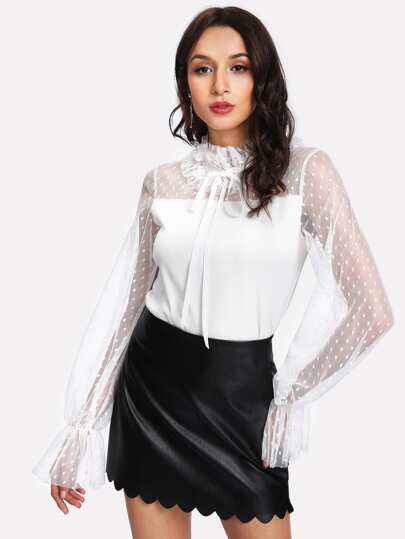 Dot Mesh Yoke Frill Detail Blouse