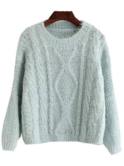 Long Sleeve Slit Back Pale Blue Sweater -SheIn(Sheinside)
