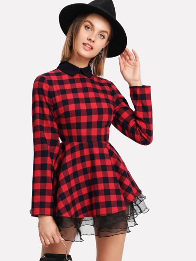 Ruffle Organza Trim Checked Fit & Flare Dress