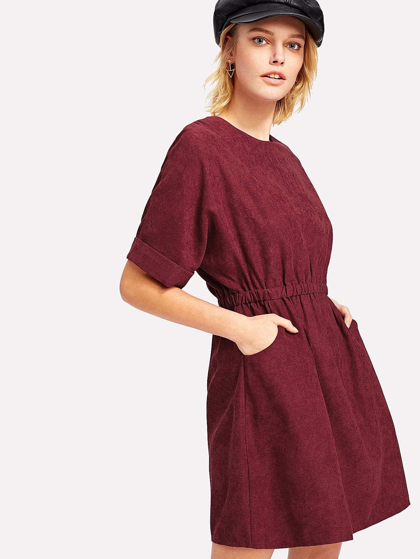 Dolman Sleeve Corduroy Dress corduroy babydoll smock dress