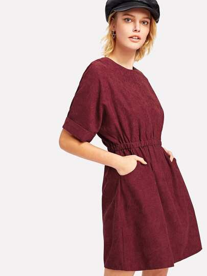 Dolman Sleeve Corduroy Dress