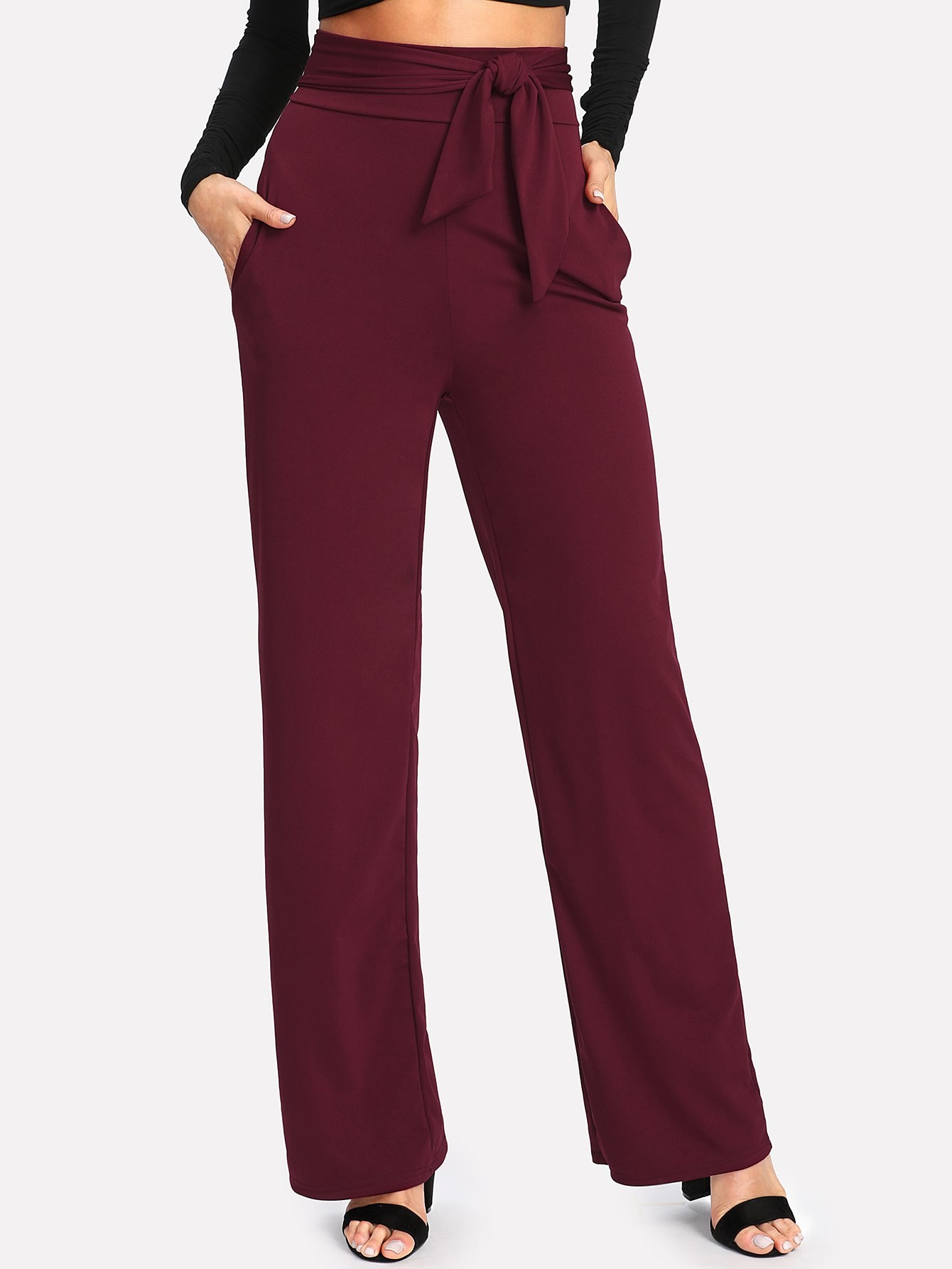 Self Tie Wide Leg Pants bow tie side wide leg pants