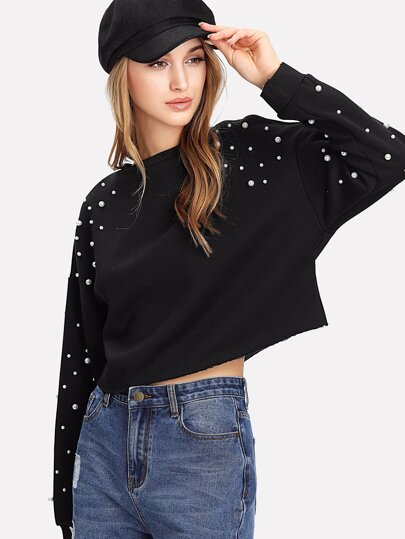 Pearl Embellished Raw Hem Pullover