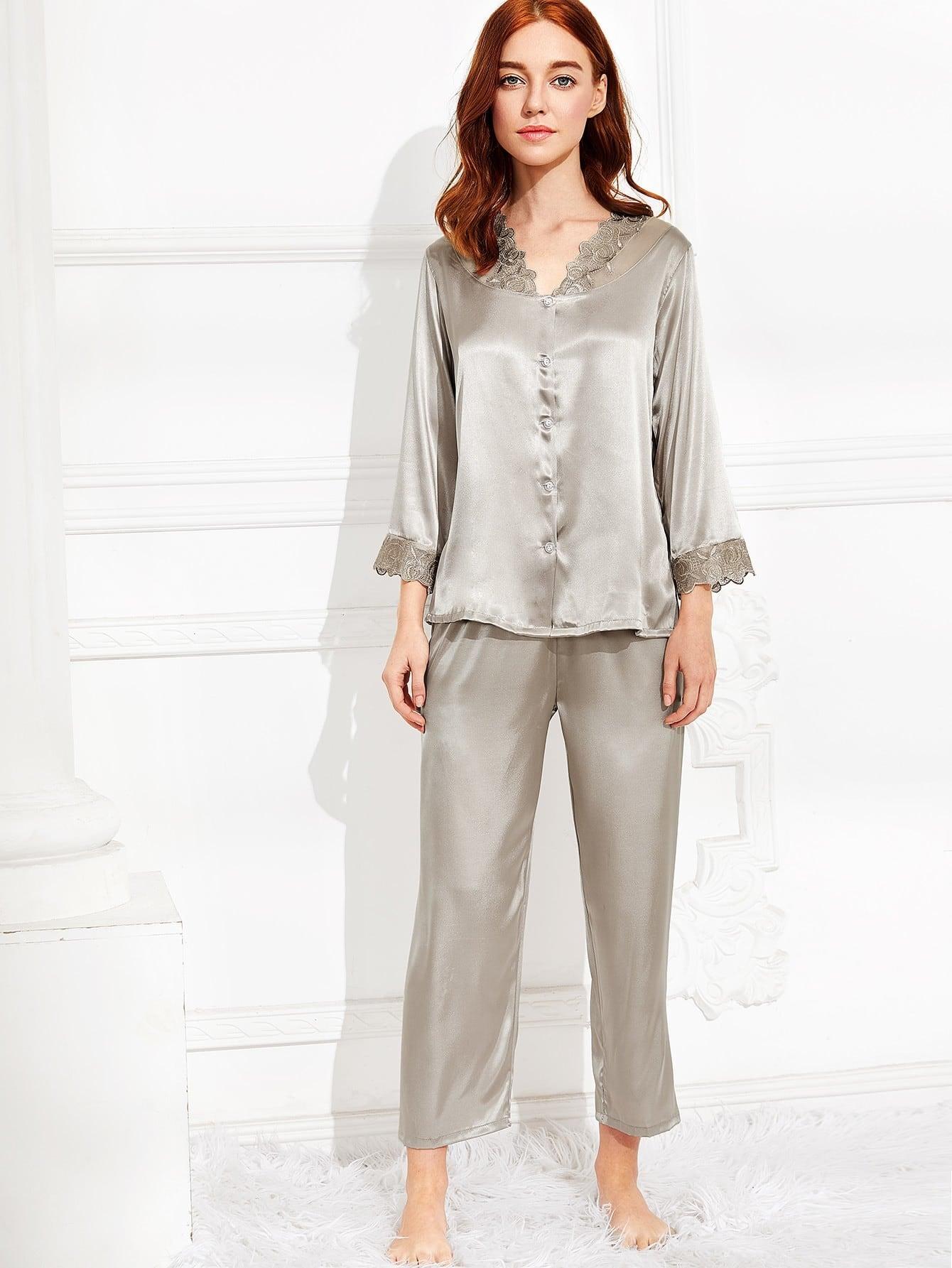 Embroidered Lace Trim Satin Pajama Set satin scallop lace trim cami pajama set