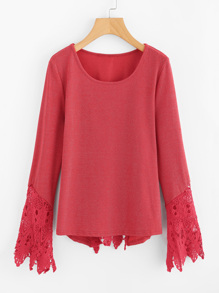 Floral Lace Insert T-shirt