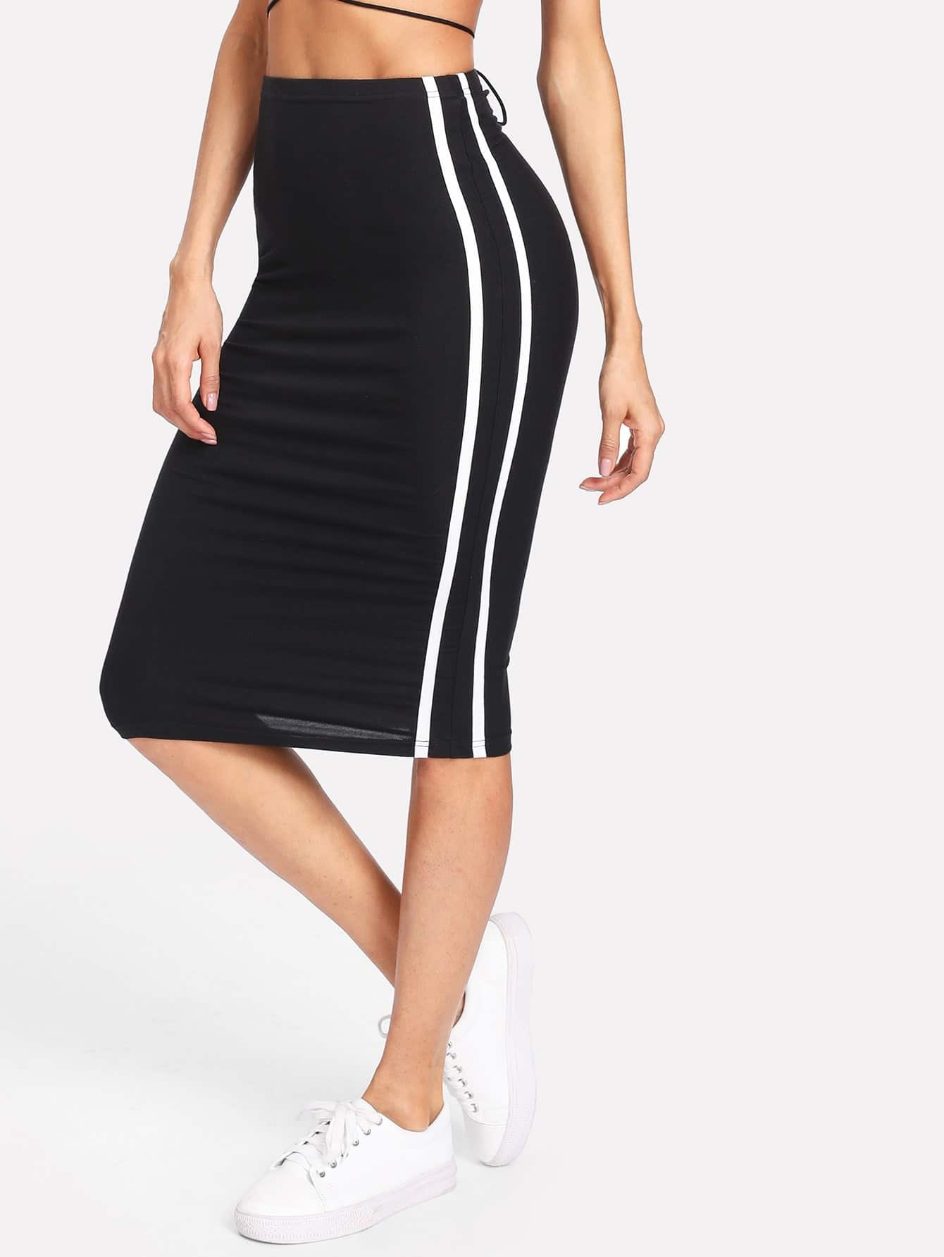 Striped Side Pencil Skirt button side stripe pencil skirt