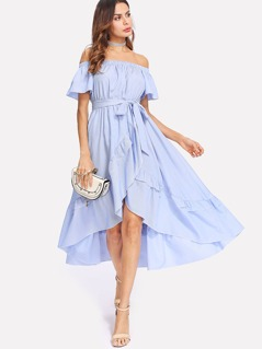 Ruffle Trim Overlap Hem Striped Bardot Dress