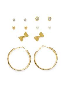 Bow & Hoop Design Earring Set