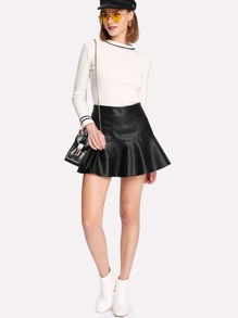 Zip Side PU Flare Skirt