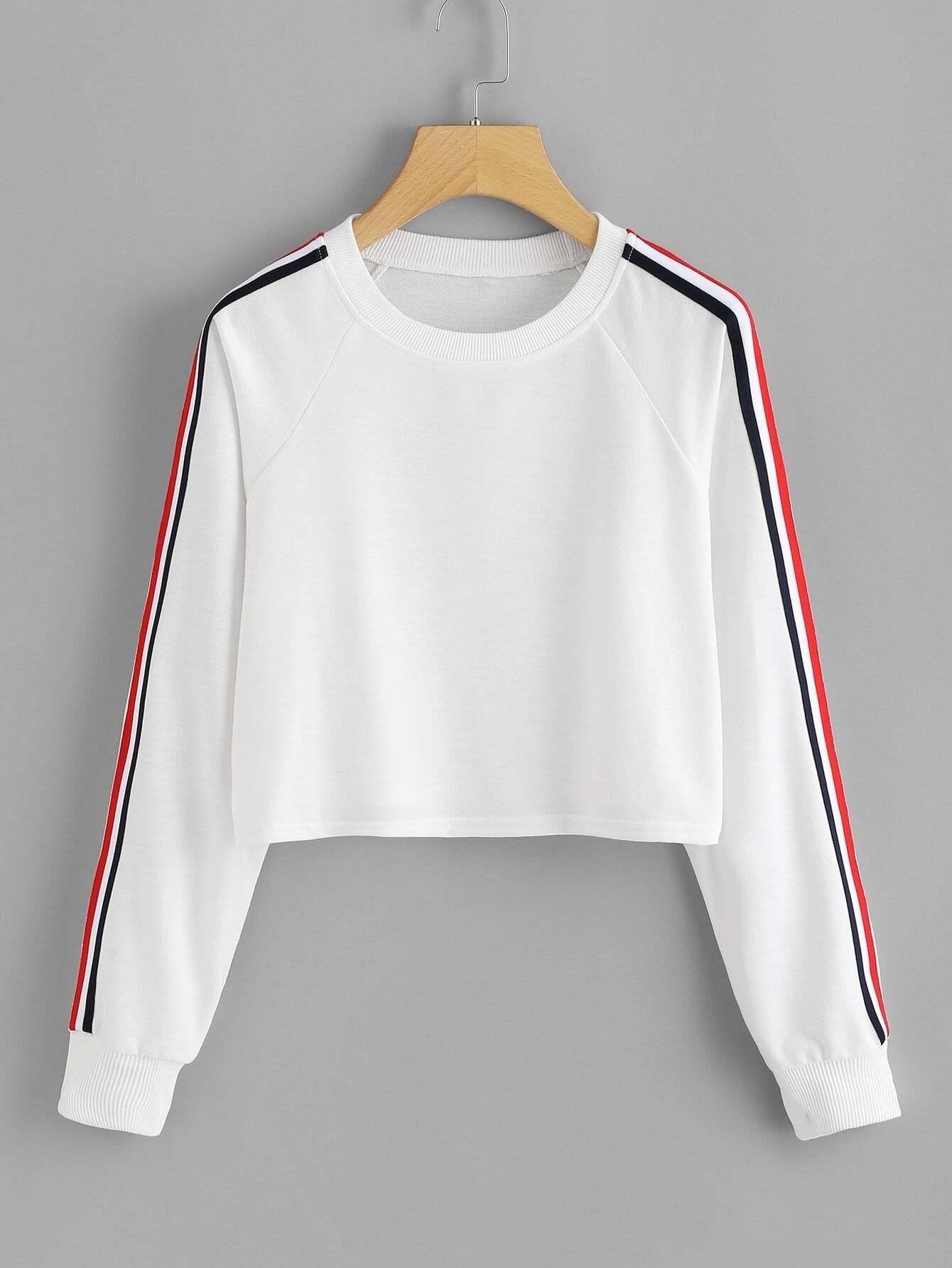 Stripe Tape Detail Crop Pullover