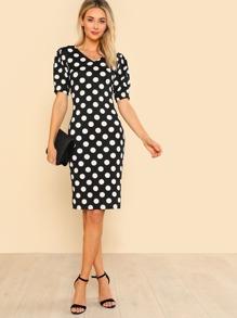 Puff Sleeve Polka Dot Pencil Dress
