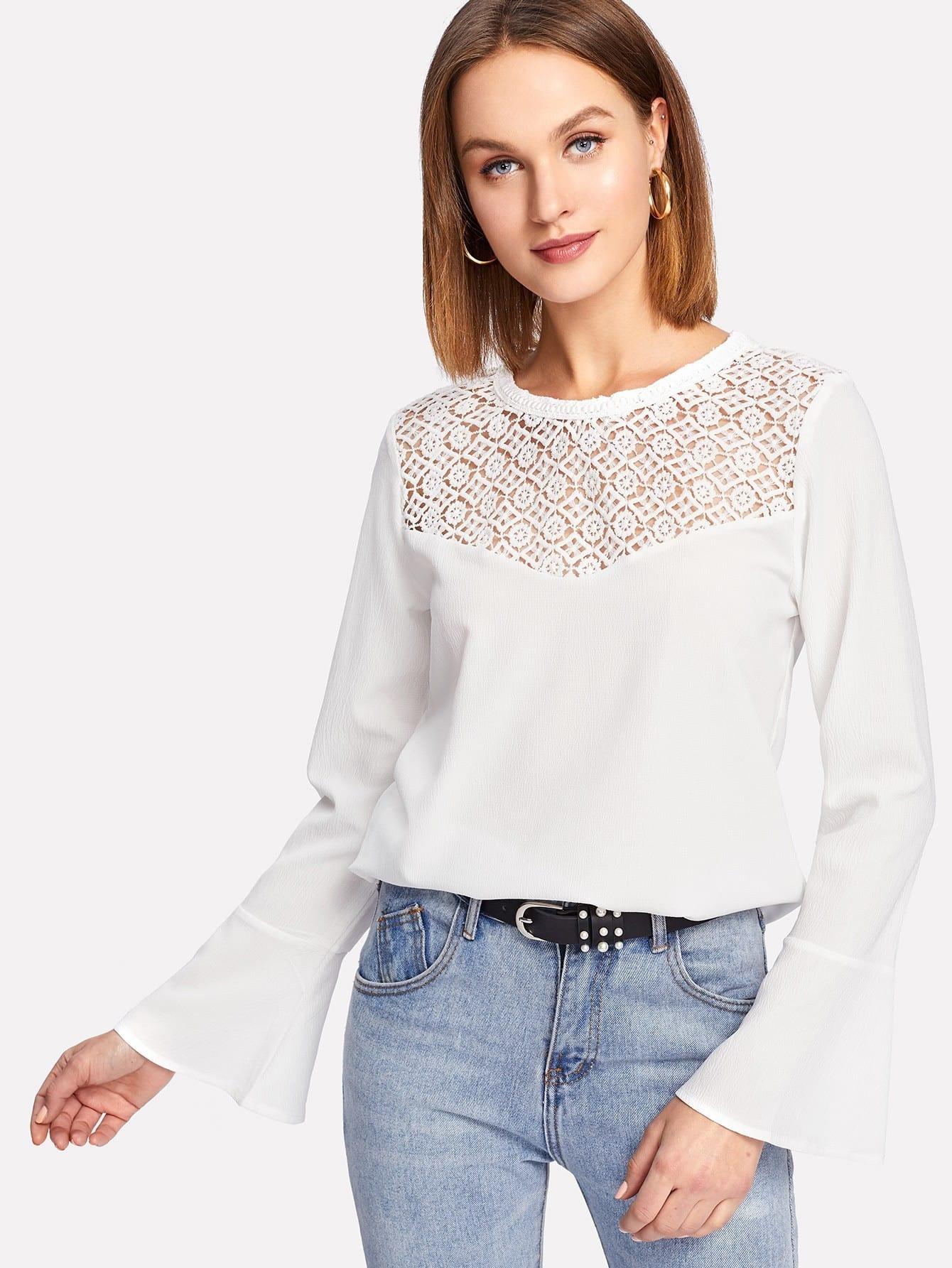 Geo Lace Insert Ruffle Cuff Blouse blouse171120455