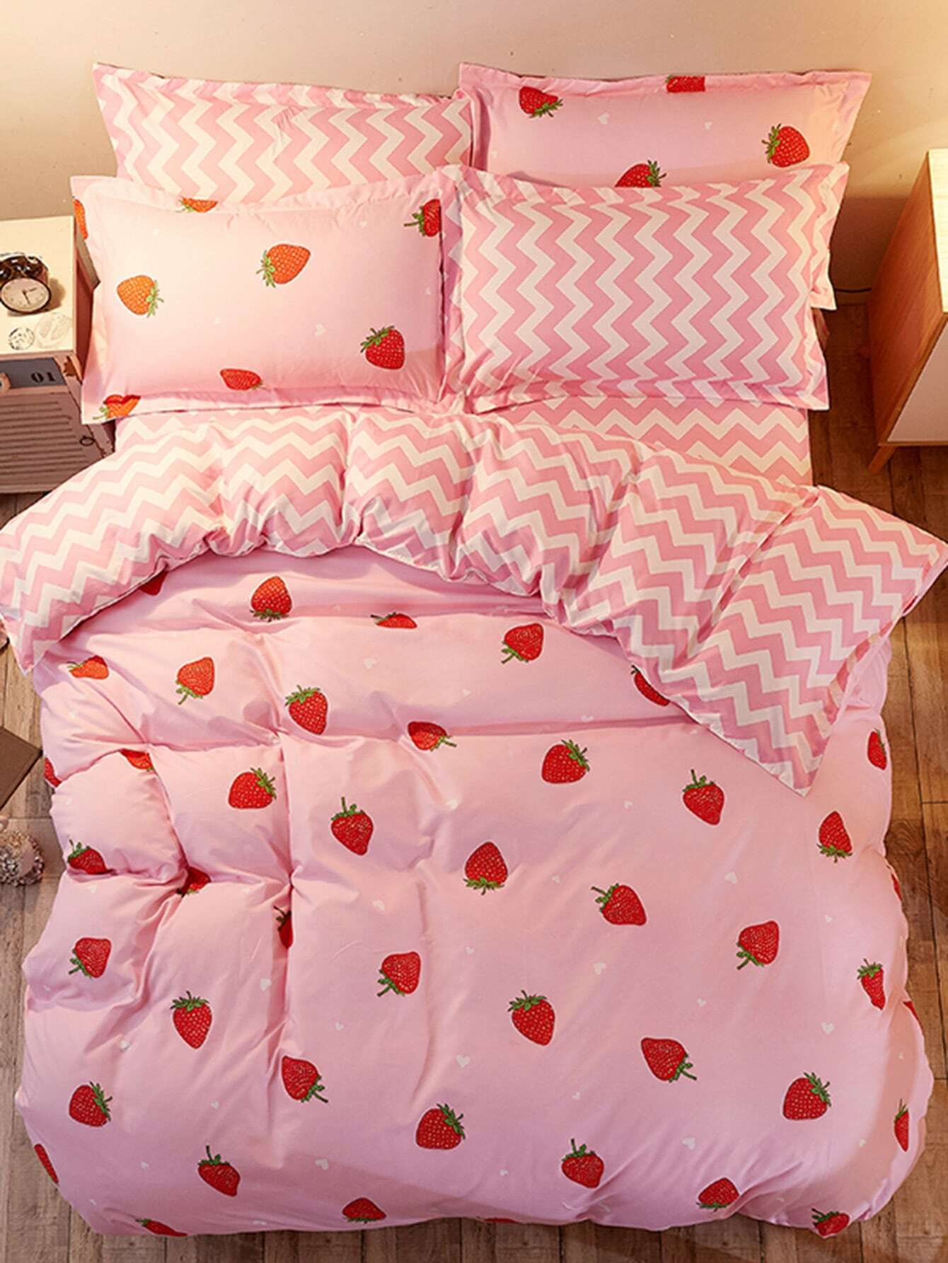1.8m 4Pcs Fruit Print Chevron Duvet Cover Set 1 2m 4pcs fruit print duvet cover set