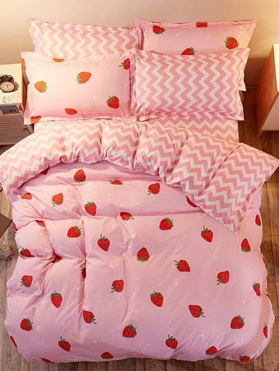 1.8m 4Pcs Fruit Print Chevron Duvet Cover Set