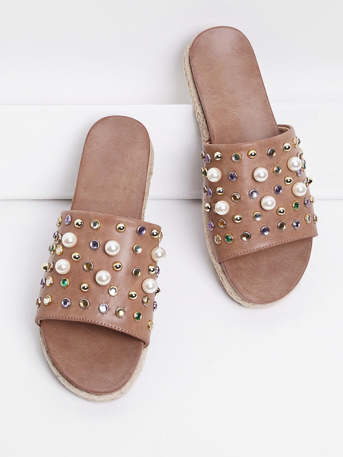 Rhinestone & Faux Pearl Design Flatform Sandals