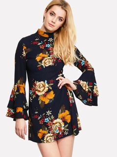 Flounce Sleeve Flower Print Dress