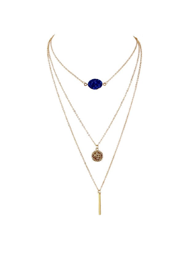 Blue Boho Chic Chain With Stone Round Charms Necklace chic bells necklace