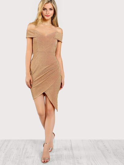 Off Shoulder Side Ruched Dress GOLD