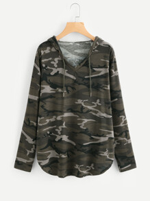 Curved Hem Camo Hooded Tee