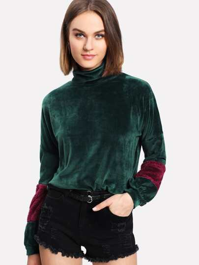 Contrast Faux Fleece Panel Velvet Pullover