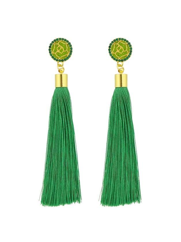 Green Ethnic Jewelry Flower Decoration Long Tassel Drop Earrings плащ baronia плащ