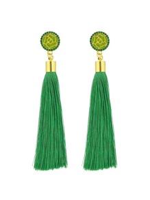 Orecchini a gioielli con pendenti di nappa lunga - Verde