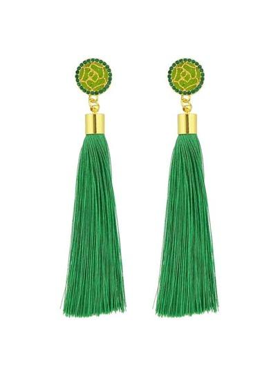 Green Ethnic Jewelry Flower Decoration Long Tassel Drop Earrings