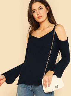 Scallop Hem Ribbed Knit Top