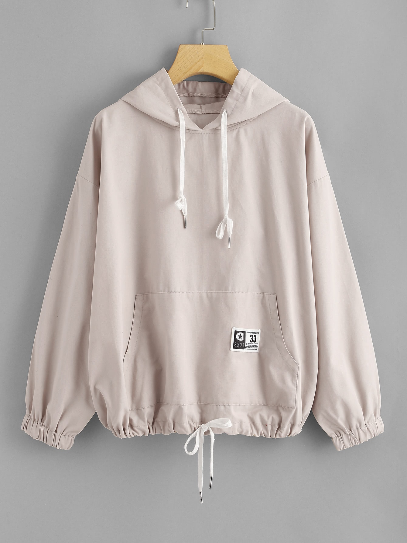 Drawstring Hem Kangaroo Pocket Front Hoodie hollow out pocket front hoodie
