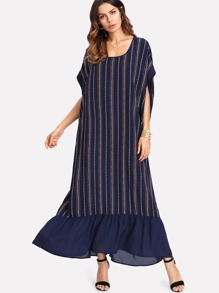 Geo Striped Ruffle Hem Dress