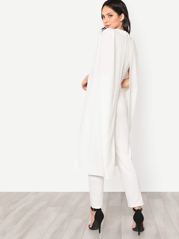 4233cfcd169 Cape Sleeve Surplice Wrap Tailored Jumpsuit. AddThis Sharing Buttons