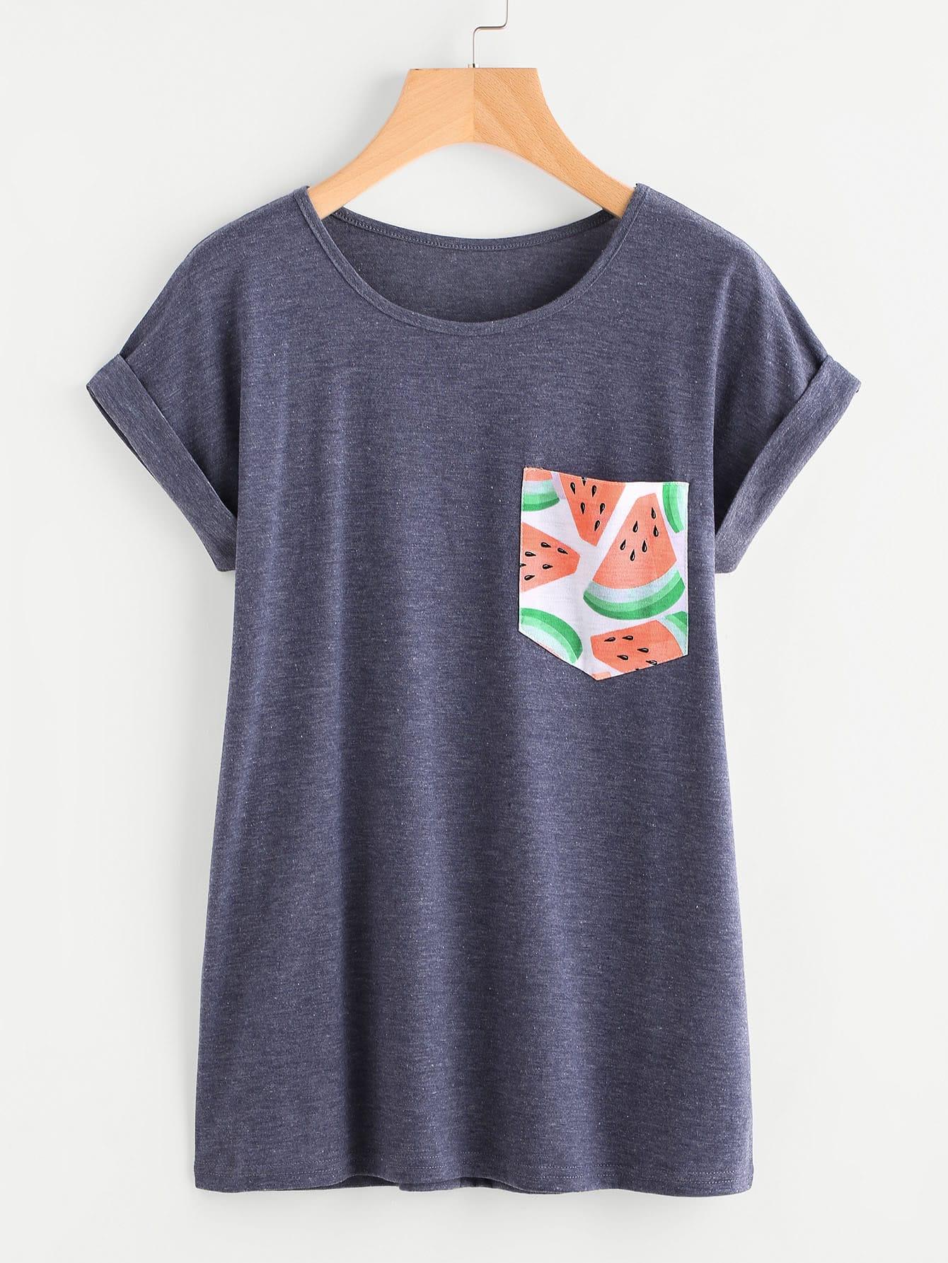 Contrast Watermelon Print Pocket Cuffed Tee