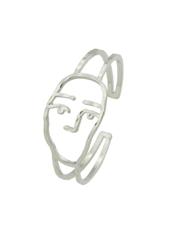 Silber offene Manschette Armreifen mit Abbildung Gesicht Muster geometrische Armbänder