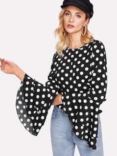 Trumpet Sleeve Polka Dot Top
