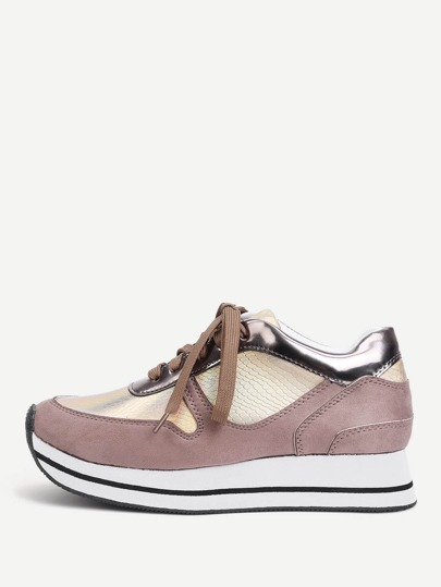 Striped Detail Lace Up PU Sneakers