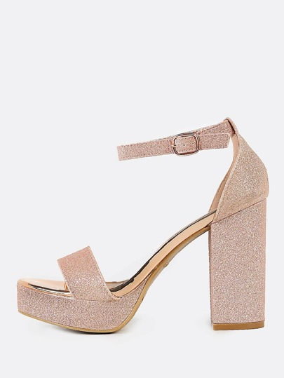 Glitter Ankle Strap Chunky Heels ROSE GOLD