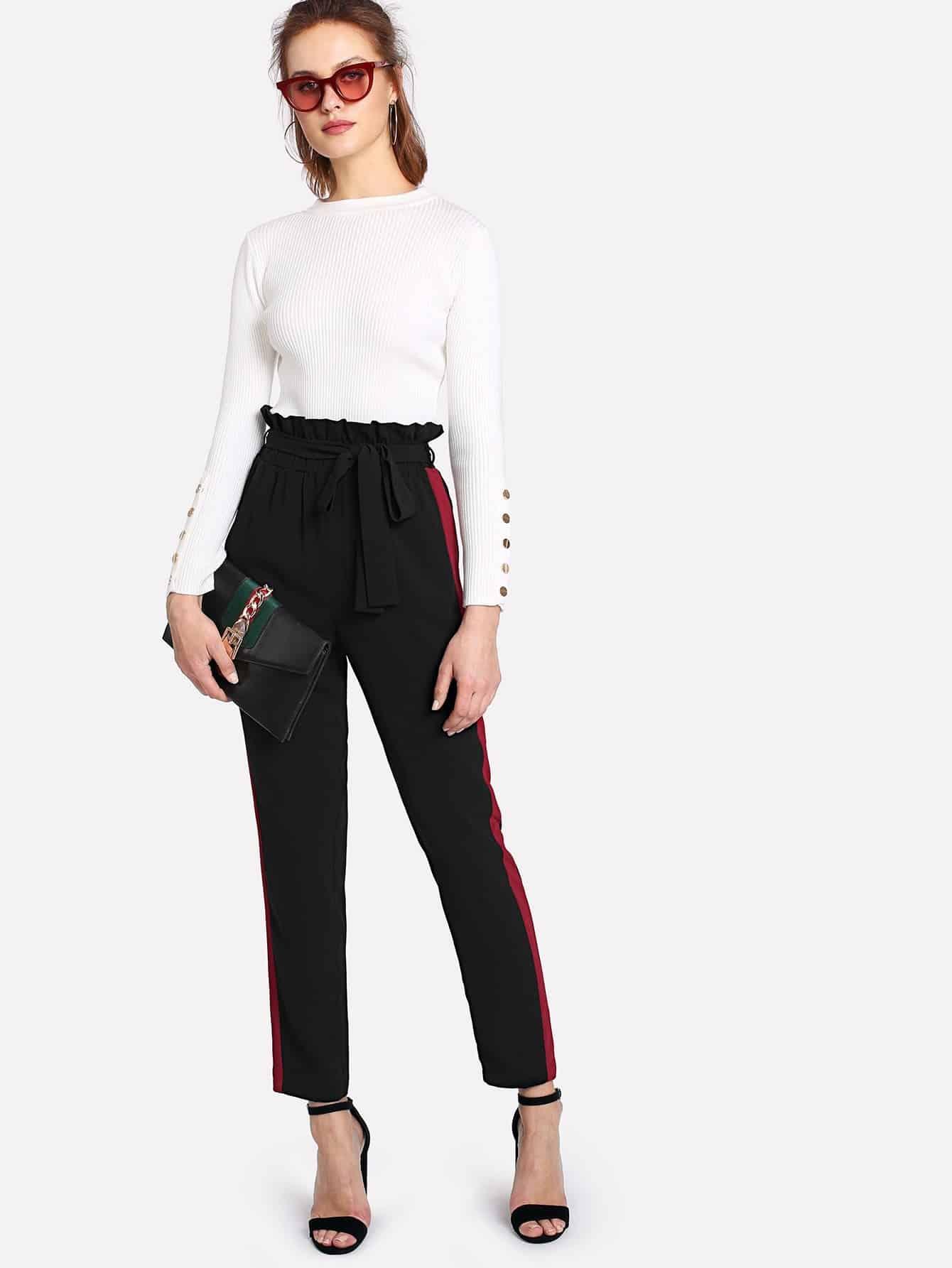 Contrast Panel Side Belted Ruffle Waist Pants ruffle waist belted peg pants