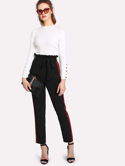 Contrast Panel Side Belted Ruffle Waist Pants