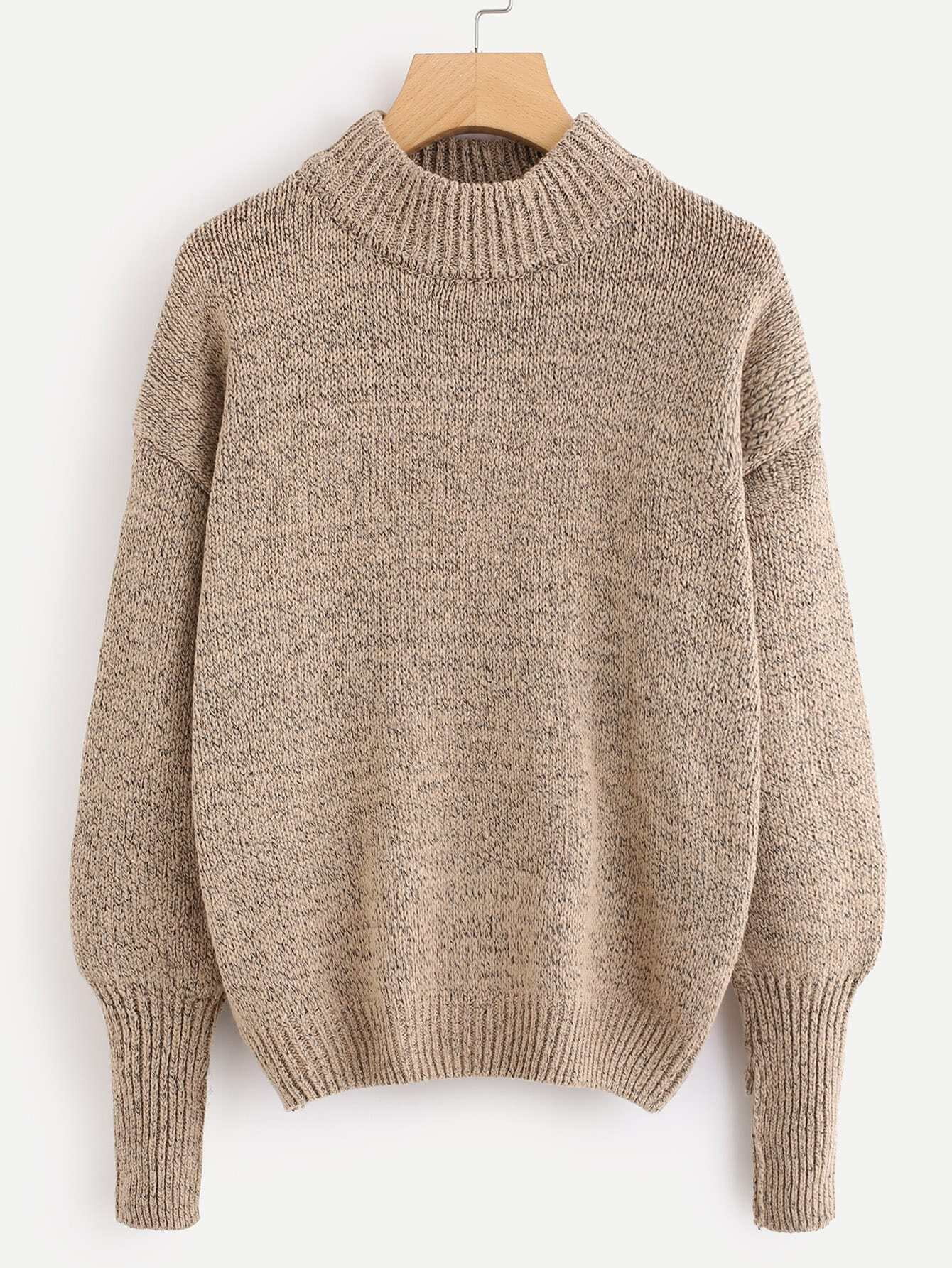 Drop Shoulder Ribbed Trim Knit Sweater