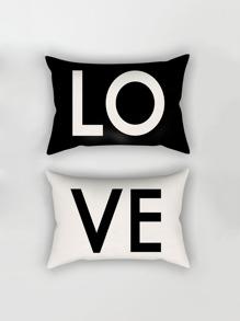 Funda de almohada con estampado de letras 1 pares