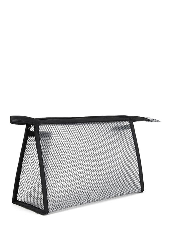 Net Zipper Makeup Bag by Sheinside