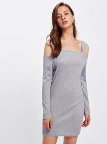 Open Shoulder Marled Knit Dress