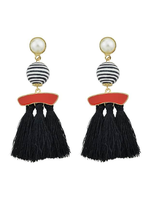 Black Bohemian Jewelry Handmade Bead Long Tassel Ethnic Earrings pair of jellyfish tassel bead handmade earrings
