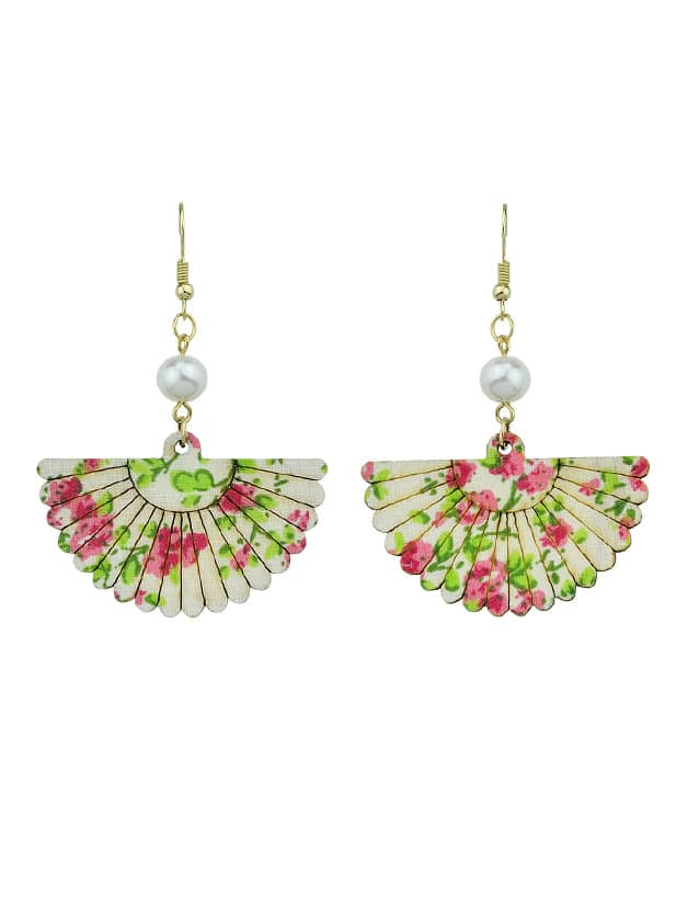 Red Wood Sector Pattern With Simulated-Pearl Drop Earrings enamel sector pattern brooches with red tassel