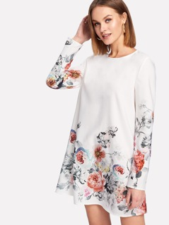 Flower Print Keyhole Back Dress