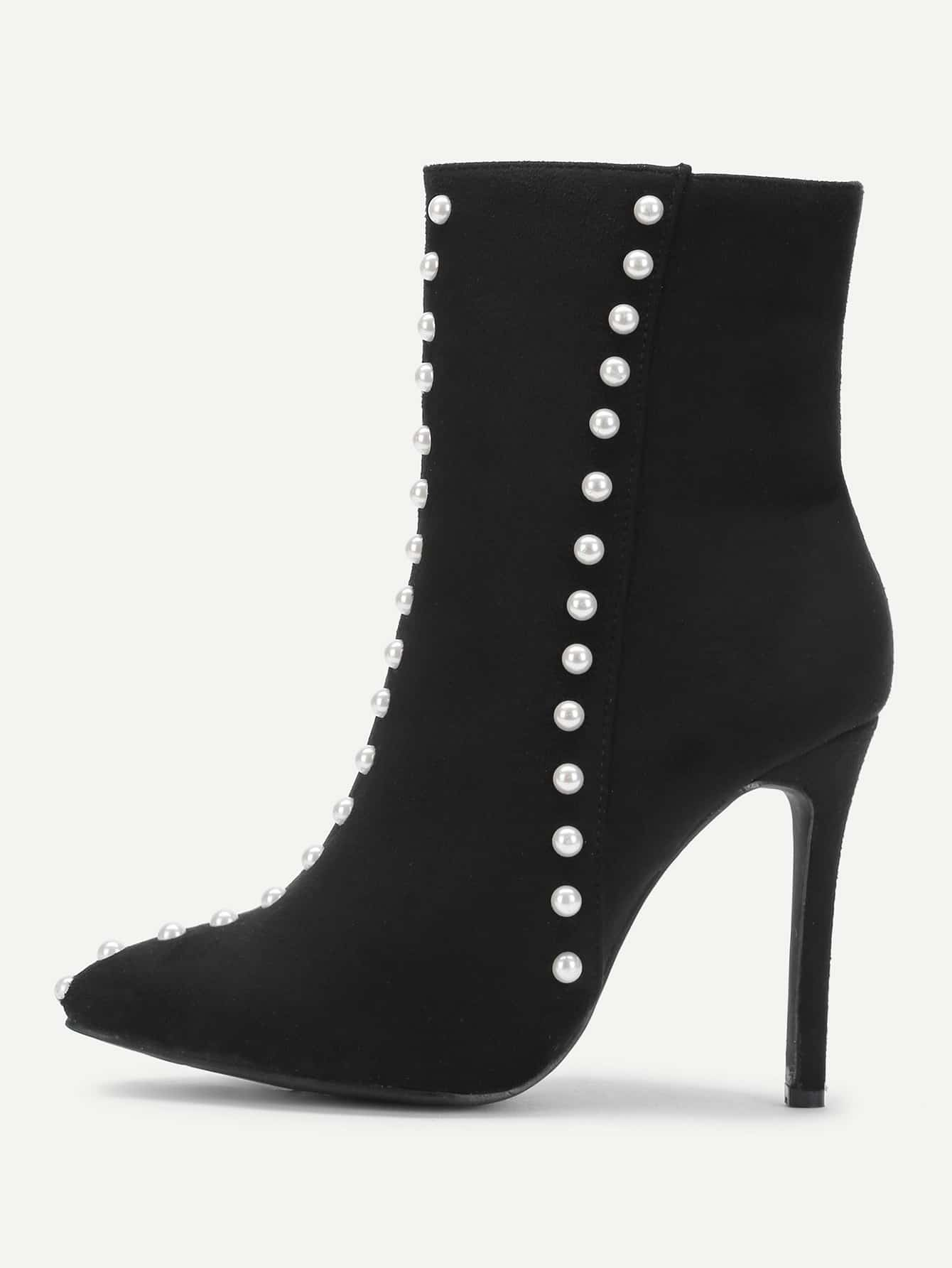 Faux Pearl Decorated Side Zipper Stiletto Boots
