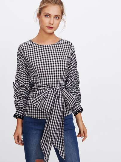 Gathered Sleeve Self Belted Gingham Blouse