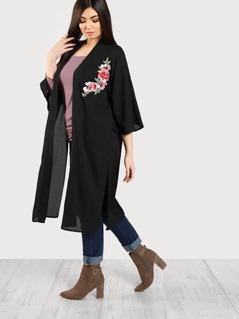 Flower Embroidered Split Side Longline Kimono