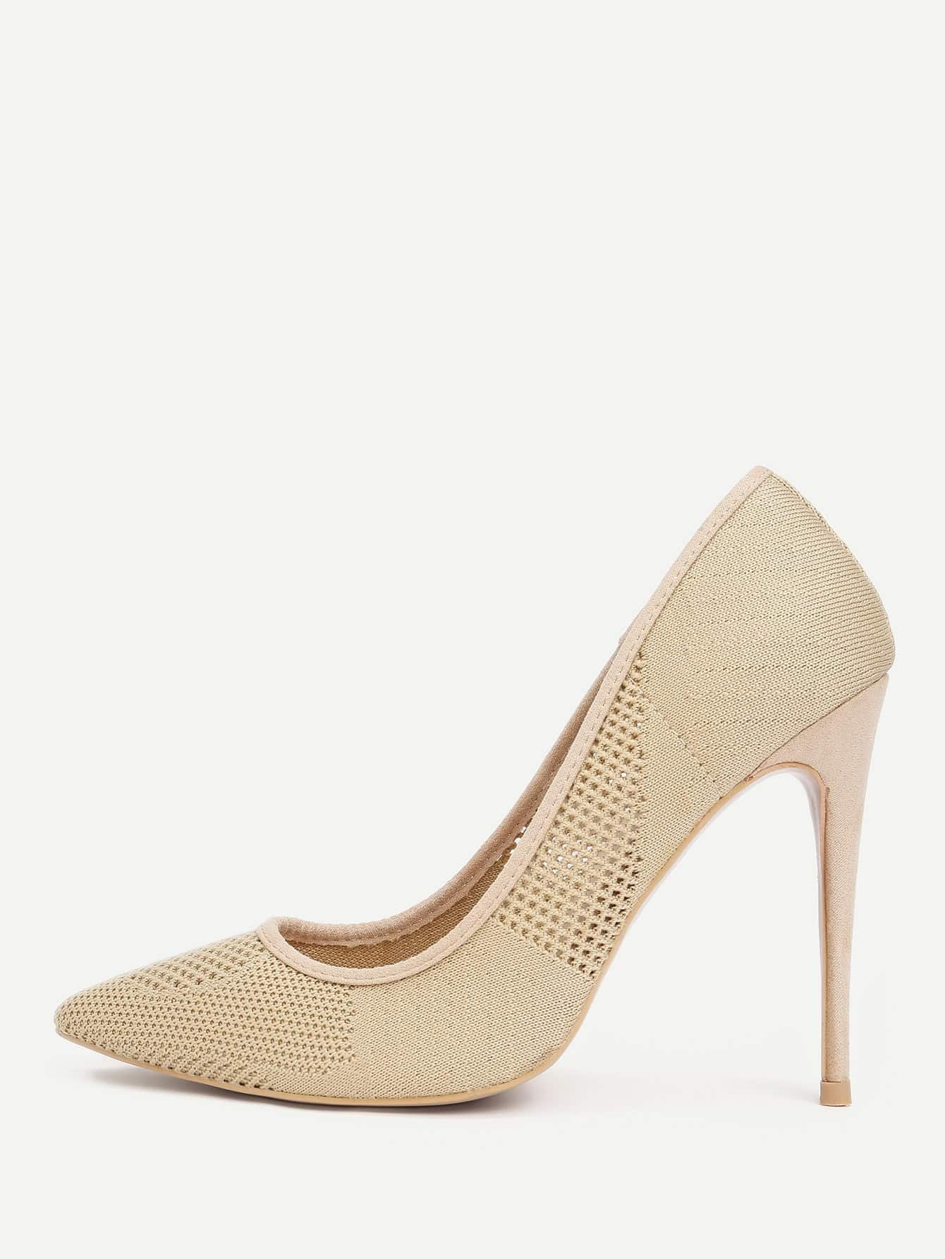 Knit Design Pointed Toe Stiletto Pumps