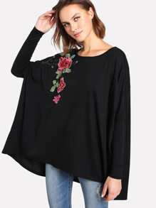 Flower Applique Dolman Sleeve Tee